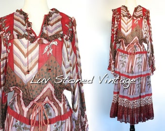 Vintage 70s Ruffle Draw String Boho Hippie Cotton Gauze Gypsy India Festival Midi Dress | ML | D135 | 1258.62217
