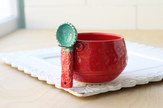 red and aqua salt cellar and spoon