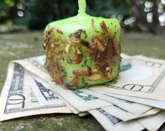 ABUNDANCE- Hand-Dipped Herbal Spell Votive Candle for Money, Prosperity, Wealth