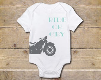 Motorcycle Baby Onesie, Hipster, Dirtbike, Harley, Baby Shower Gift, Baby Clothes, Shirt, New Baby Gift, Boy, Biker, Ride or Die