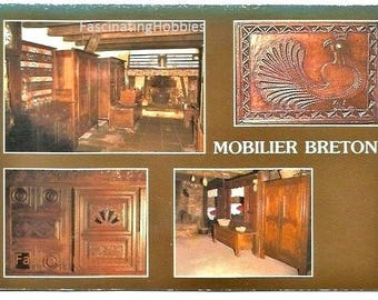FRENCH FURNITURE in BRITTANY - Vintage photo postcard - Cornouaille Interior,a box  bed from  Leon 's country- years 1970 - Good condition