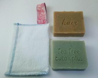 1 Zero waste Soap Savers and 2 Shampoo Bars of your Choice