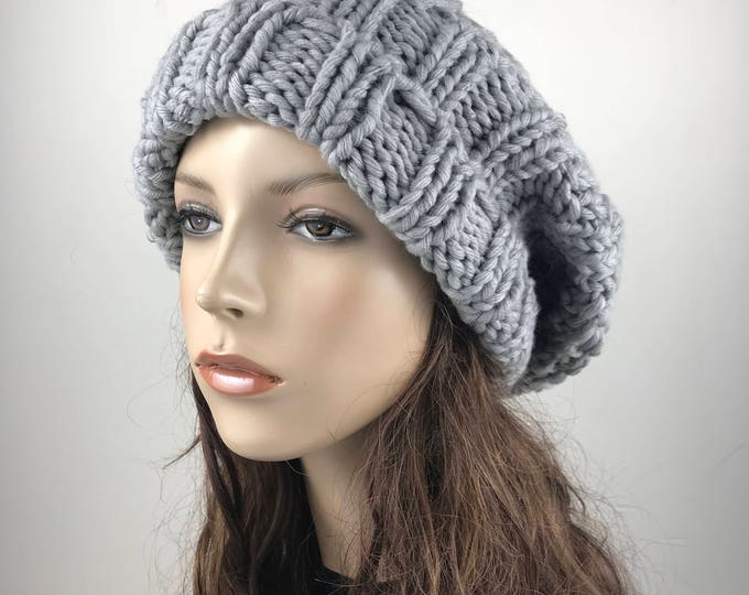 Hand knit woman man unisex hat - Oversized Chunky Wool Hat, slouchy Grey hat, winter hat