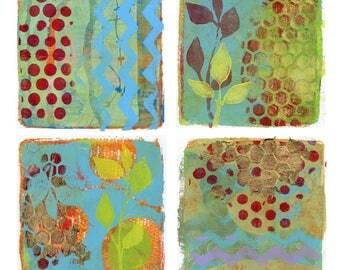 Works of Wonder - Set of 4 abstract - botanical artworks, giclee prints