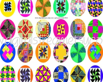 Quilt Pics Ovals Printable JPEG Digital Collage Sheet 36 Different 30x40 mm Ovals Images for Jewelry Pendants Scrapbooking