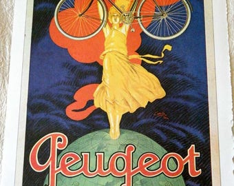 Vintage Bicycle Poster 1922 Peugeot Bicycles Woman Holding Bike Up Poster Size Book Plate