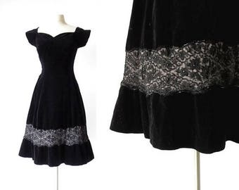 20% off sale 1950s Party Dress | Black Velvet Dress | 50s Vintage Dress | Small S