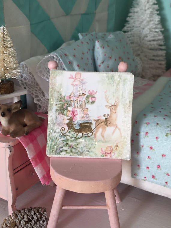 "Pastel Vintage Christmas  Sleigh and Reindeer Canvas Art 2"" x 2"""