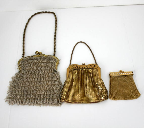 3 Vintage Beaded Mesh Chain Purses, Flapper Handbag, Bead Fringe, Gold Evening Bag, Coin Purse