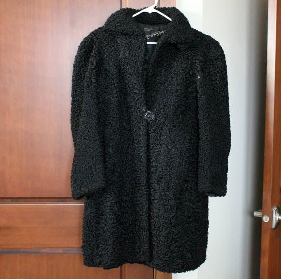 Vintage 1920s Black Wool Coat, Persian Curly Lambswool Swing Car Coat, Size Small