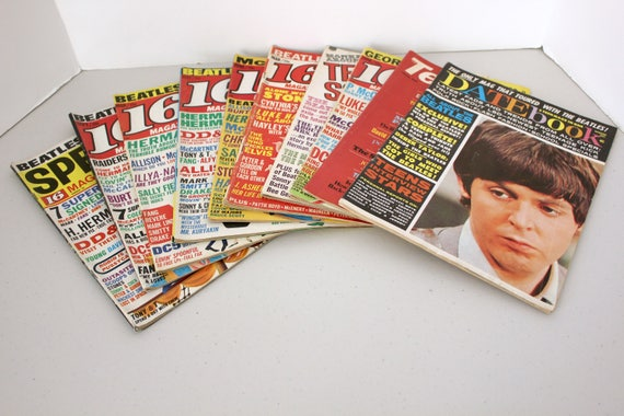 Vintage Lot of 10 Beatles 1960s Magazines Covers, 16, Datebook, Teen Set, Scoop