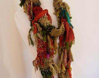 long skinny scarf, recycled silk chiffon scarf, hand knitted scarf, boho tattered rag scarf