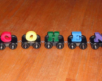 Rainbow Name Train - Personalized - Handmade Wooden Montessori Train Toy, Toddler Name Train, Made in USA