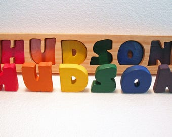 Rainbow Name Puzzle - Personalized - Raised, Stand alone Letters - Handmade Wooden Montessori Puzzle Toy, Toddler Name Puzzle, Made in USA