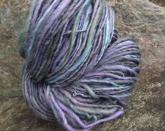 Handspun yarn, handpainted thick and thin Polwarth wool worsted yarn-Thalia