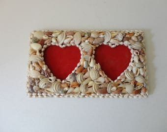 VINTAGE double HEART picture FRAME with seashell collage art