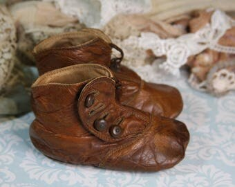 Antique BABY SHOES- Brown Leather Victorian Shoes with Side Buttons- Vintage Nursery Decor