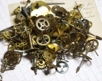 Vintage CLOCK GEARS- 18 Pieces- Watch Parts- Movements- Cogs- Steampunk Supply- Altered Art- Repurposed Jewelry Supply
