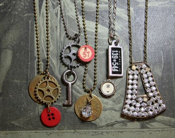 Found Object NECKLACE LOT- Repurposed Recycled- Wholesale Lot- Gear- Rhinestones- Brass Tags Pendant Group Resale Necklaces