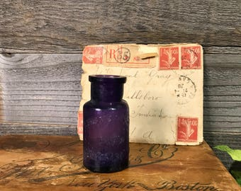 Vintage Purple Bottle- Gerstendorfer Bros. New York Chicago- Japanese Gold Paint Antique Purple Bottle- Collectible- Late 1800's- R64