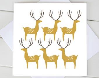 Simple Scandi Christmas Reindeer Xmas Blank Card