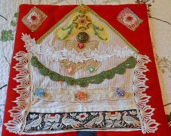 PARTRIDGE In A PEAR TREE Folk Art Fabric Collage Christmas Velveteen, Birds Vintage Lace Embroidery Button Beads, Rosette Scrappy Wall Decor
