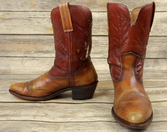 Mens 9.5 M Distressed Cowboy Boots Tan Brown Western Shoes Urban Country Shoes