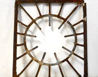 Vintage Metal Stove Top Burner Grate Found Object Wall Art Steampunk Upcycle Recycle