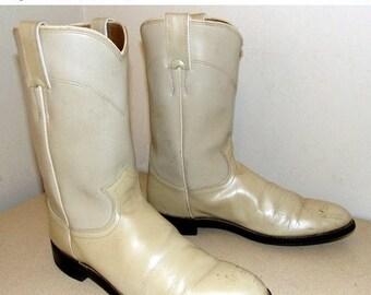 Vintage Pearl Off White Justin Diamond J Cowboy boots size 8 B