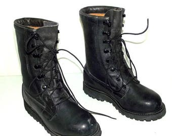 Military Combat Boots womens size 5.5 W Wide width Black leather gothic shoes