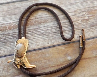 Cowboy Boot Spur Bolo Tie Light Tan Polished Stone Country Western Rockabilly Necklace