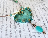 Cowgirl heart necklace    Verdigris copper wire wrapped heart    crystal turquoise beaded jewelry