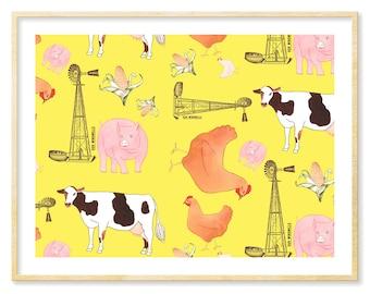 Yellow Nursery Art Print, Farm Animals, Kids' Room, Whimsical Print, Girl's Room Art, Boy's Room Art, Nursery Decor, 8.5x11, Farmhouse Decor