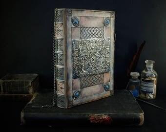 medieval art book, huge leather journal, one of a kind large book, leather journal, sketchbook, collectable - Blue Blood Heirloom