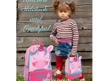 Toddler Backpack and Lunchbox / personalized backpack / preschool personalized lunchbox / STEPHEN JOSEPH backpack / UNICORN