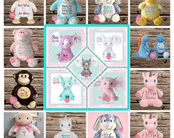 Personalized baby gift ,personalized stuffed animal , birth announcement gift , elephant nursery toy , new baby gift, baby Christmas gift