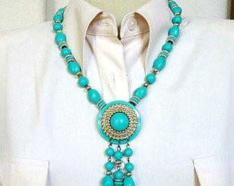 Aqua Blue Pendant Tassel Necklace Vintage Beaded