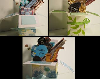 Handmade Music Related Thinking of You  pop up Exploding Box Card - 3 Variations Free Shipping in USA