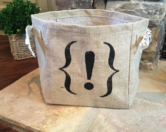 Hand Painted Important Exclamation Point Burlap Storage Tote
