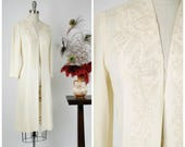 Vintage 1930s Dress - Gorgeous Late 30s Ivory Overdress with Lustrous Soutache and Three Quarter Sleeves