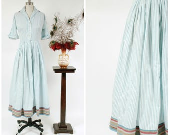 Vintage 1950s Dressing Gown - Casually Chic Cotton Hostess Robe in Blue and White Stripes with Multi Color Striped Trim