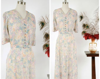 Vintage 1930s Dress - Darling Floral Print Semi-Sheer Cotton Voile Late 30s Day Dress with Roses and Matching Belt