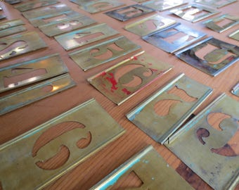 """Vtg Brass Stencil Letters and Numbers / 2"""" letter and 4"""" brass Stencil / Listing is for ONE / Altered Art or Collage"""