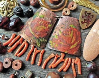 Earring inspiration kit- dusty coral and roses, bead soup mix lot assortment set