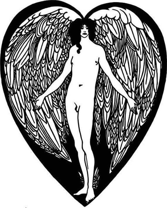 "nude male angel png clipart jpg printable deco art Digital graphics Image Download 9.6"" x 11.9"" line art"