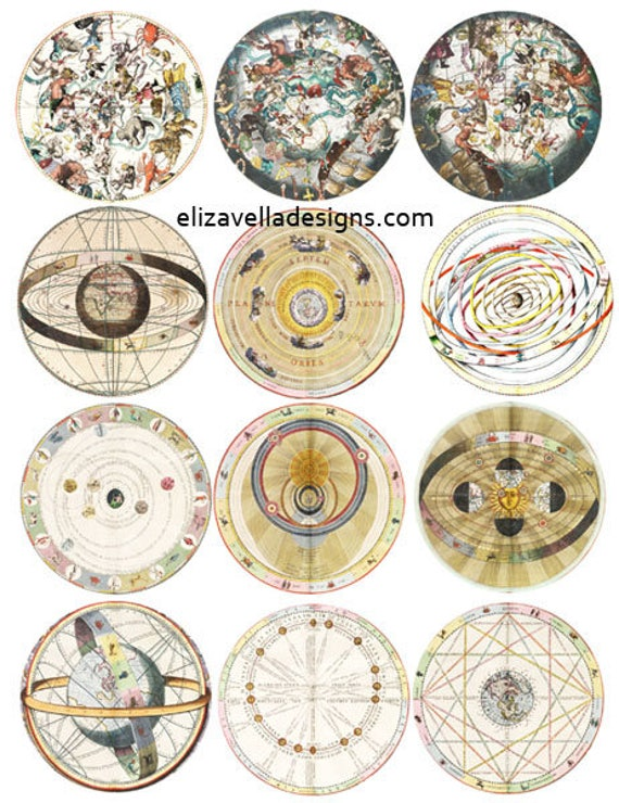 VINTAGE zodiac astrological charts digital download image graphics COLLAGE sheet 2.6 inch circles vintage celestial images printables