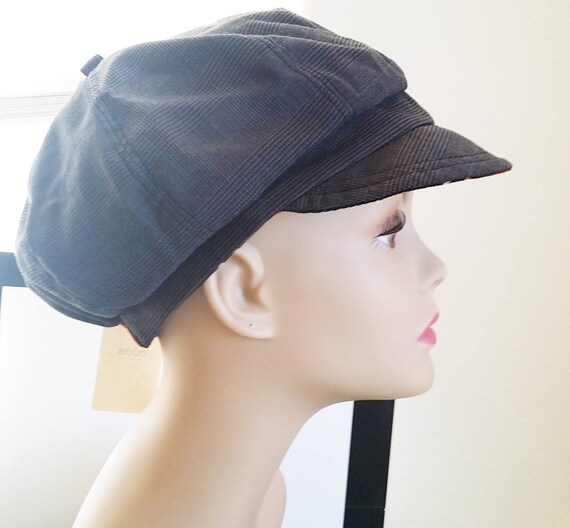 womens news boy hat cap cabbie stripes lady gray reversible fashion accessories