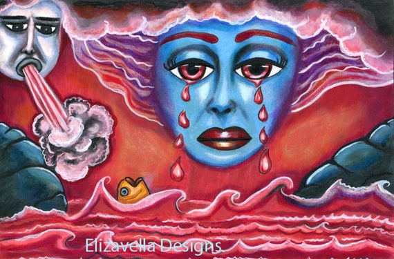 Sky Goddess crying Revelation 16:3 bloody tears ORIGINAL ART PAINTING  ocean waves bible art goth artwork Elizavella