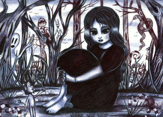 gothic big eye witch girl original art pen drawing child fantasy illustration creatures friends landscape trees black and white artwork