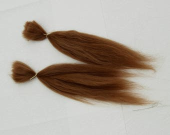 "Suri Alpaca Doll Hair, washed and combed locks, natural fawn, medium brown, 6-10"" for reroot and BJD doll wigmaking, 14g or 3.5 g"